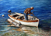 Fishing in a Shallow Water, oil, 26x29 (52x72cm)