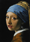 Copy of Vermeer's -Head of a Young Girl, oil, 7x5 (18x13 cm)